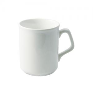 Baltas puodelis su elegantiška rankenėle